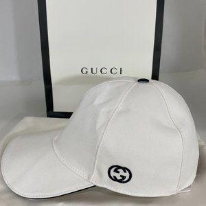 GUCCI 1421 NWT GG WHITE BASEBALL CAP WEB DESIGN 57